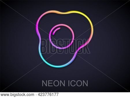 Glowing Neon Line Scrambled Eggs Icon Isolated On Black Background. Home Cooked Food, Fried Egg, Hea