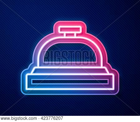 Glowing Neon Line Hotel Service Bell Icon Isolated On Blue Background. Reception Bell. Vector