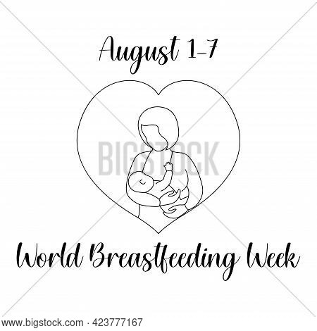 Breastfeeding Week In August. Outline Vector Illustration. World Campaign For Support Of Breastfeedi