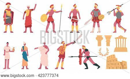 Ancient Roman Empire. Ancient Roman Characters, Emperor, Centurions, Soldiers And Plebs Cartoon Vect