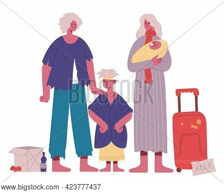 Homeless Family. Poor, Hungry And Dirty Father, Mother And Kids, Refugee Stateless Family Cartoon Ve