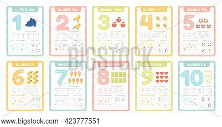 Numbers Learning Cards. Kindergarten Flashcards With Numbers, Learning And Spelling Numbers From 1 T