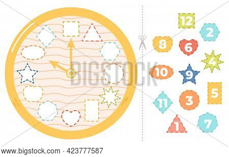 Children Clock Puzzle Game. Educational Time Puzzle Game For Kids, Clock Learning Paper Game Vector