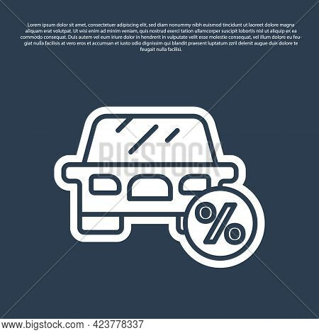 Blue Line Car Leasing Percent Icon Isolated On Blue Background. Credit Percentage Symbol. Vector