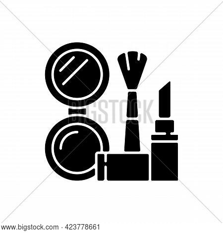 Makeup Black Glyph Icon. Cosmetic Products. Female Skincare. Lipstick And Powder Set. Brush For Wome