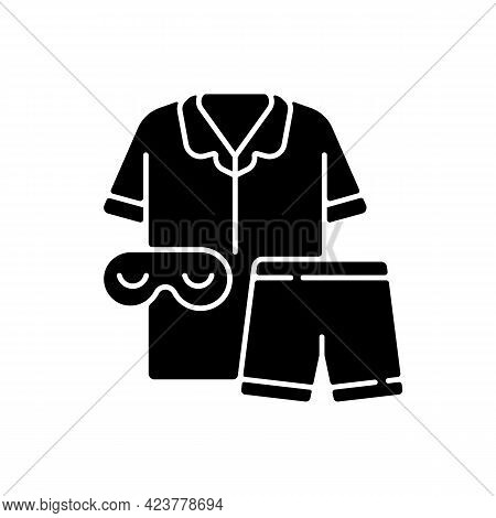 Pajamas Black Glyph Icon. Unisex Pyjamas And Eyewear. Pants And Shirt For Sleep. Bedroom Clothing Fo