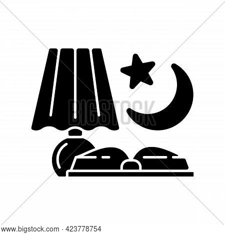 Evening Reading Black Glyph Icon. Late Nighttime Studying. Fairytale Books To Read Before Bedtime. R