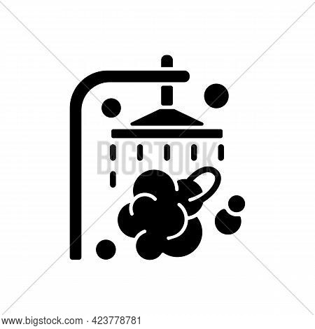 Shower Black Glyph Icon. Shower Faucet With Running Water. Rinse And Wash For Personal Hygiene. Stre