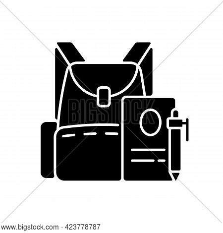 Backpack Black Glyph Icon. Preparing For School Classes. Schoolbag With Notebook For Student. Rucksa