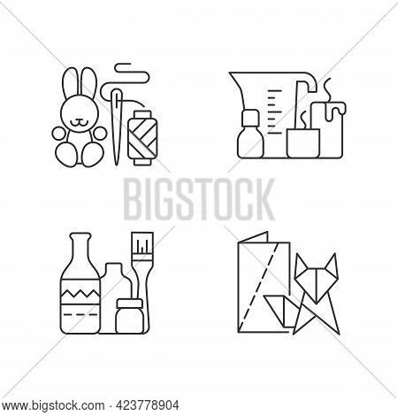 Trendy Crafts Linear Icons Set. Amigurumi Bunny. Candle Making. Repurposed Wine Bottles. Handmade To