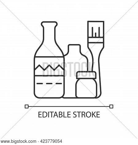 Bottle Painting Linear Icon. Home Decor. Repurposed Wine Bottles. Flower Homemade Vases. Thin Line C