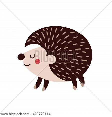 Cartoon Hedgehog On A White Background. Vector Illustration