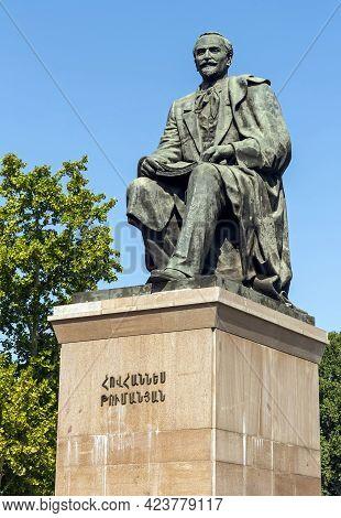 Yerevan,armenia- September 23,2015:monument To Hovhannes Tumanyan (1869-1923) In Yerevan. Armenian P