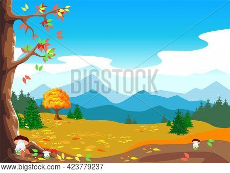 Beautiful Autumn Landscape With Forest, Mushrooms And Falling Leaves. Bright Horizontal Illustration