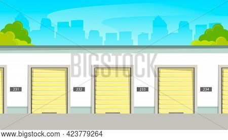 Self Storage Facility, Self-service Storage, Device Storage In Vector Illustration.