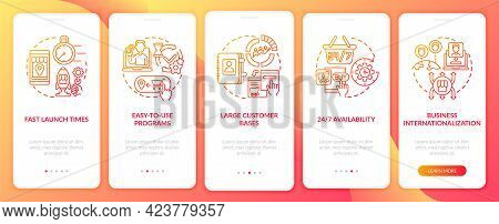 E-marketplace Benefits Onboarding Mobile App Page Screen. Fast Launch Times Walkthrough 5 Steps Grap