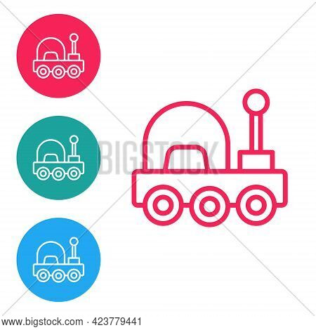 Red Line Mars Rover Icon Isolated On White Background. Space Rover. Moonwalker Sign. Apparatus For S