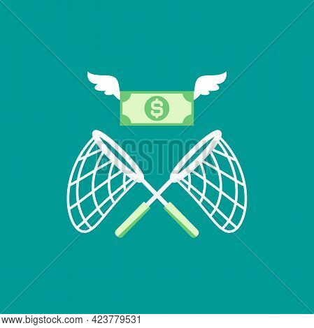 Butterfly Net With Flying Dollar Banknotes. Catch, Hunt, Chase Money Symbol. Achieve Goals, Financia