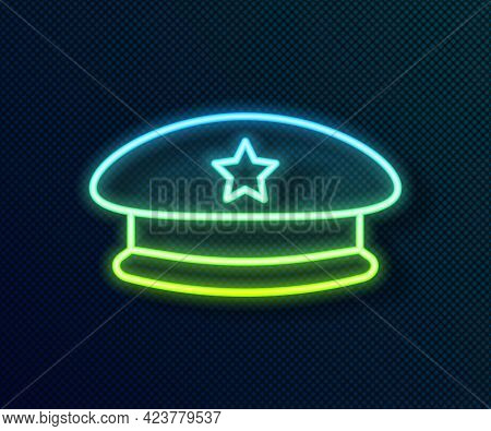 Glowing Neon Line Military Beret Icon Isolated On Black Background. Soldiers Cap. Army Hat. War Bare