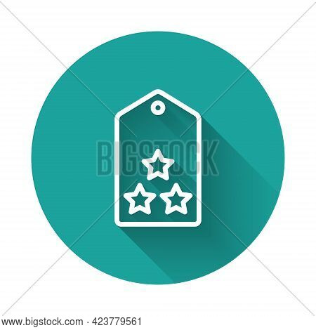 White Line Military Rank Icon Isolated With Long Shadow Background. Military Badge Sign. Green Circl