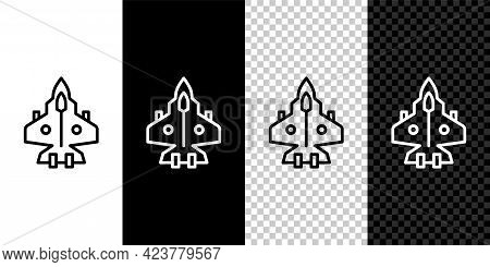 Set Line Jet Fighter Icon Isolated On Black And White, Transparent Background. Military Aircraft. Ve
