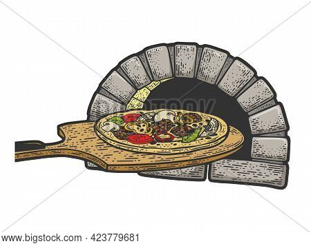 Pizza On Paddle And Oven Color Line Art Sketch Engraving Vector Illustration. T-shirt Apparel Print