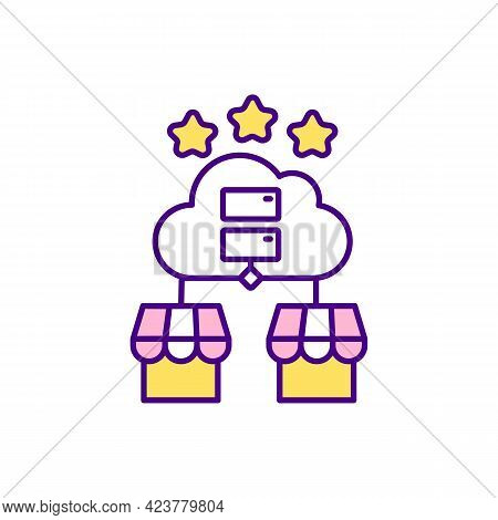 Business-to-business Collaboration Rgb Color Icon. Online E-commerce. Isolated Vector Illustration.