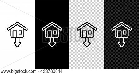 Set Line Property And Housing Market Collapse Icon Isolated On Black And White, Transparent Backgrou