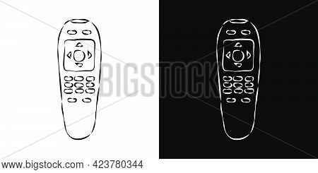 Two Views Hand Remote Control. Hand Drawn Illustration On White And Black Background. Multimedia Pan