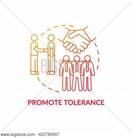 Promote Tolerance Concept Icon. Racism At Work Abstract Idea Thin Line Illustration. Anti-racism Str