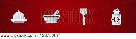 Set Pudding Custard, Mortar And Pestle, Spatula And Jar Of Sugar Icon. Vector
