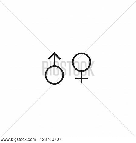 Relationship Psychology Logo. Black Female And Male Gender Sign. Couple, Love, Affair Symbol. Woman,