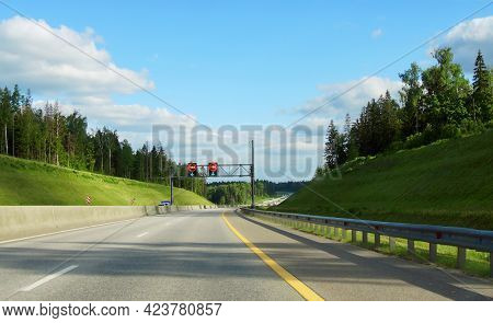 Russian Highway Number M11 In Summer Day