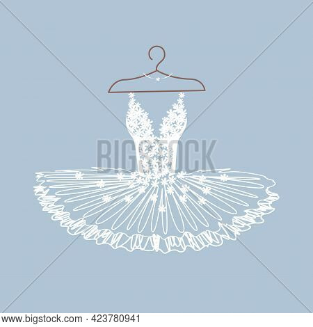 Beautiful Ballet Tutu On A Hanger. Ballet Dress With Lace Bodice. Vector Illustration On White Backg