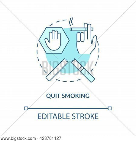 Quit Smoking Concept Icon. Fight With Unhealthy Habits. Dealing With Healh Troubles. Organs Problems