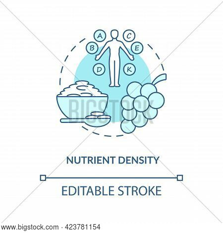 Nutrient Density Concept Icon. Amount Of Nutritions In Food. Quality Of Ingredients. Healthy Eating
