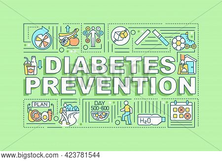 Diabetes Preventions Word Concepts Banner. Medical Help. Infographics With Linear Icons On Green Bac