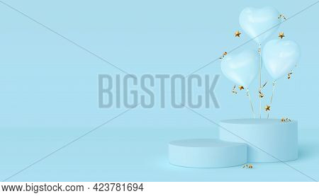 3d Podium Scene With Glossy Heart Balloons. Mockup For Product Presentation With Copy Space. Design