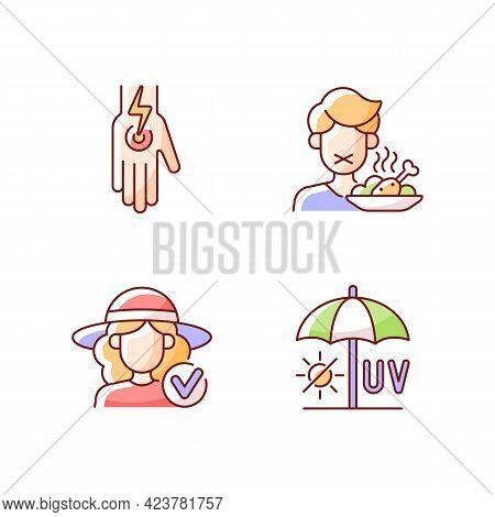 Sunstroke And Sunburn Rgb Color Icons Set. Cramp In Body. Loss Of Appetite. Avoid Uv Exposure. Isola