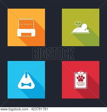Set Dog Shit In Bag, Clockwork Mouse, Collar And Clinical Record Pet Icon. Vector