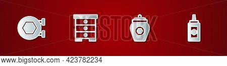 Set Hanging Sign With Honeycomb, Hive For Bees, Jar Of And Icon. Vector