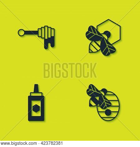 Set Honey Dipper Stick With Honey, Hive For Bees, Jar Of And Bee And Honeycomb Icon. Vector