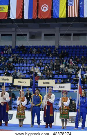 KIEV, UKRAINE - FEBRUARY 16: Opening ceremony of XIX International freestyle wrestling and female wrestling tournament in Kiev, Ukraine on February 16, 2013