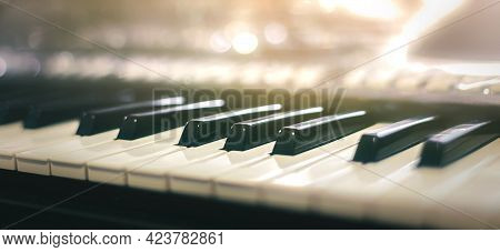 Piano Keyboard Background Was Set Up In The Music Room By The Windows In The Morning To Allow The Pi