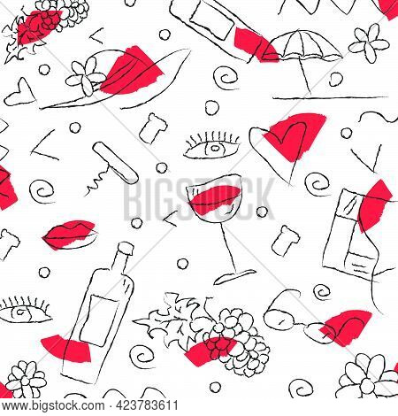 Wine Themed Doodle Hand Drawing Vector Illustration Background Pattern