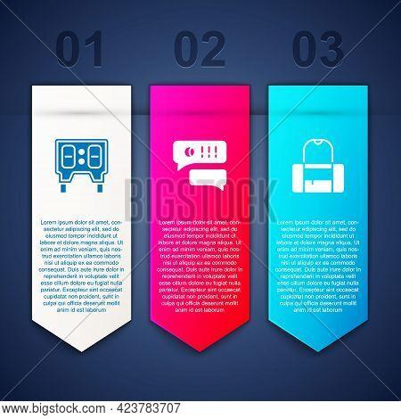Set Baseball Mechanical Scoreboard, Speech Bubble Chat Baseball And Sport Bag. Business Infographic
