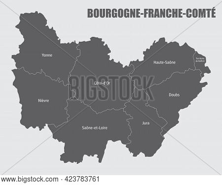 Bourgogne-franche-comte Administrative Map Divided In Departments With Labels, France