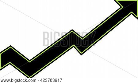A Black Arrow With Bright Green Boarder Moving Higher To The Right While Going Down And Up To Show G