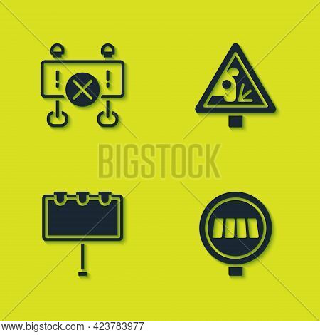 Set Road Barrier, Pedestrian Crosswalk, Billboard With Lights And Warning Road Sign Icon. Vector