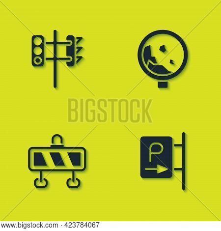 Set Traffic Light, Parking, Road Barrier And Warning Rockfall Icon. Vector